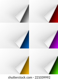 White paper curls on different colors backgrounds for web design and other needs