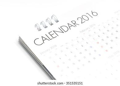 White paper desk spiral calendar 2016 on white background
