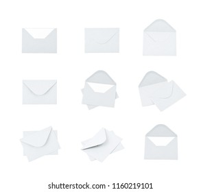 White paper envelope isolated over the white background, set of nine different foreshortenings
