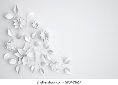 White paper flowers background, 3D illustration