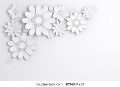 White paper flowers decoration, bridal greeting card, ornamental background. Digital 3d render illustration