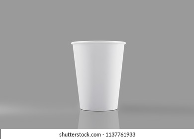 White paper glass. On a gray background. Beautiful light, shadows. Template. Mock up. tif