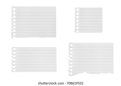 White paper has multiple black line lines torn on a white background with clipping path.