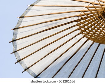 White paper Japanese traditional wooden umbrella