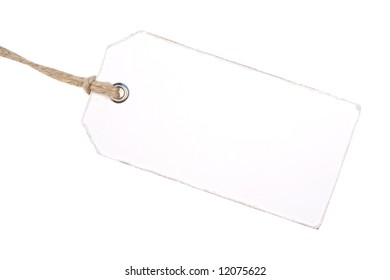 White Paper Label Isolated On White Background. Ready for your message.