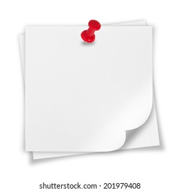 White paper note with a red pin on a white background.