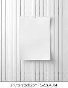 White paper on the wood wall