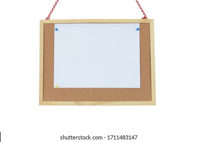 white paper post blank note text message on notice board, objects isolated on white background