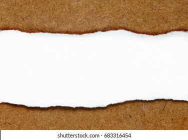 white paper is ripped put on wooden table at the middle, look like the wooden table break and have hole then have white copy space for put text.