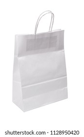 White paper shopping bag isolated on white background