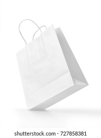 White paper shopping bag isolated