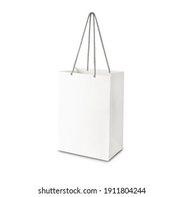 White paper shopping bag side view isolated on white background with clipping path.