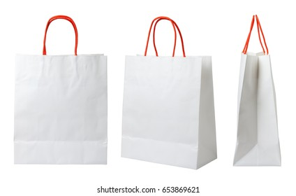 White paper shopping bags isolated on white