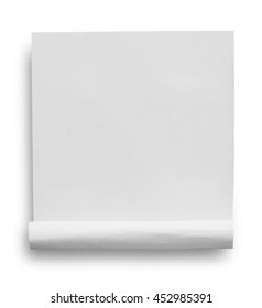 White paper tear isolated on white background with soft shadow , clipping path.