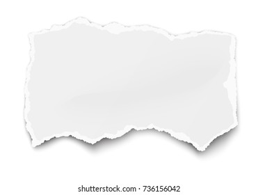 White paper tear for memo note with soft shadow isolated on white background