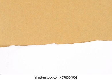 white paper tear on brown background