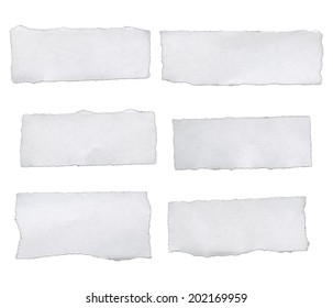 white paper tears, isolated on white