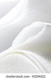 white paper towel, macro shot.