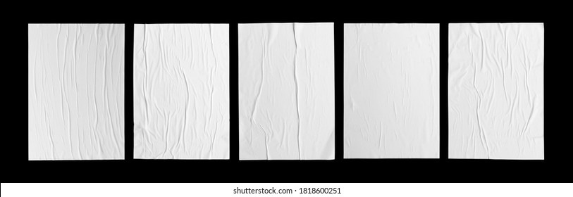 white paper wrinkled poster  template , blank glued creased paper sheet mockup.white poster mockup on wall. empty paper mockup. clipping path - Shutterstock ID 1818600251