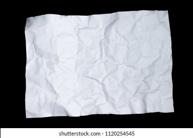 White paper with wrinkles cracked on black background.