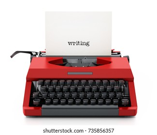 White paper with writing text in red vintage typewriter. 3D illustration.