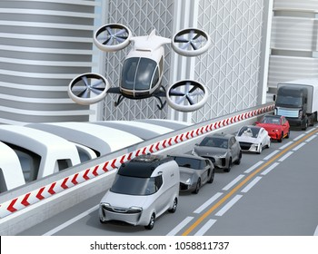 White passenger drone flying over cars in heavy traffic jam. Concept for drone taxi. 3D rendering image.