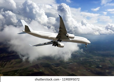 White passenger plane is extremely fast decreasing the altitude. The plane goes on an emergency landing.