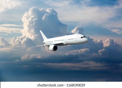 White passenger plane is gaining height