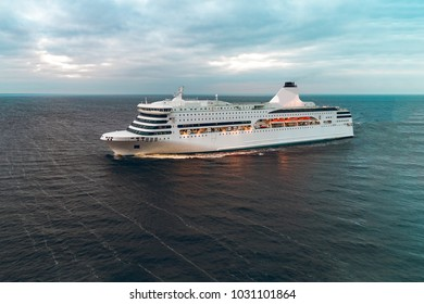 White passenger ship photo from quadcopter. Drone aerial view