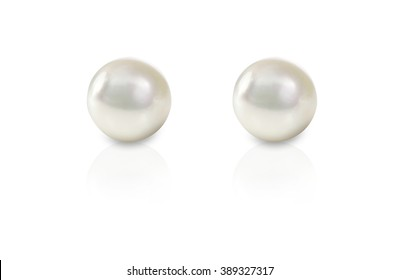 White pearl pieced earrings pair fine jewelry isolated on white