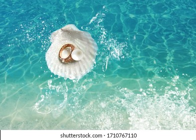 white pearl seashell with gold ring jewelry on blue marine sea water wave splash concept fashion women accessories banner  template copy space