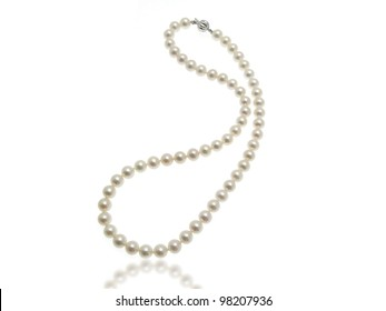 White pearls collier on white background