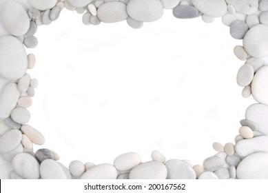 white pebble stone frame border background