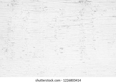 White Peeling Painting on Wooden Board Background.