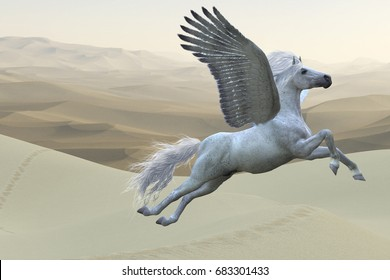 White Pegasus Horse 3d illustration - Pegasus is a mythical white divine stallion with long flowing mane and tail rises into the sky with powerful wings beats.