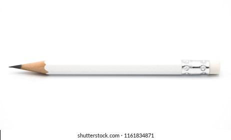 white pencil isolated on white background.