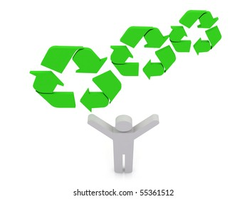 A white person holding a green recycling symbols