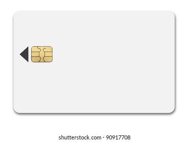 White phone card with chip isolated path