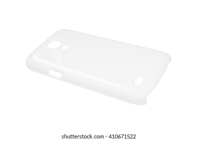 White phone case on isolated background. Blank plastic protection smartphone for your design.