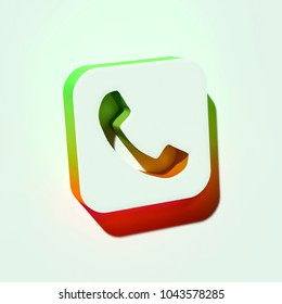 White Phone Square Icon. 3D Illustration of White Call, Telephone, Number, Tel Icons With Orange and Green Gradient Shadows.