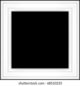 white photo frame isolated on black background
