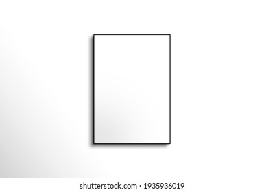 White photo frame with white wall background