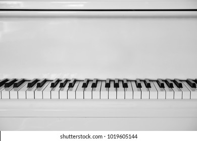 White piano keyboard with copy space, Minimal music concept