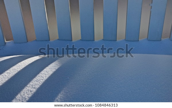 White Picket Fence winter snow shadow contrast