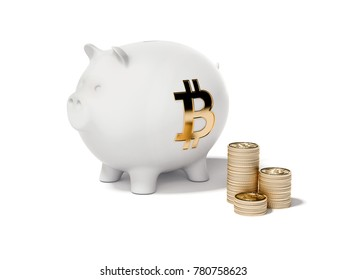 White piggy bank and three stacks of bitcoins. 3d rendering
