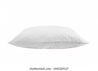 White pillow isolated, one pillow on a white background. Side view.