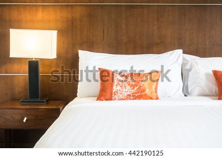 White Pillow On Bed Decoration Bedroom Stock Photo Edit Now