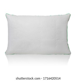 White pillow with a small relief pattern isolated on a white background with reflection