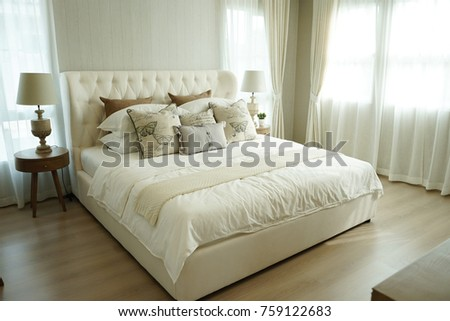 White Pillows Setting On Bed English Stock Photo Edit Now Stunning How To Decorate Bed With Pillows