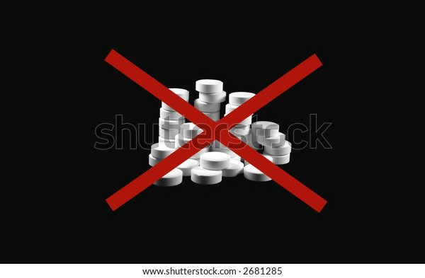 White pills on a black background with a red X mark
